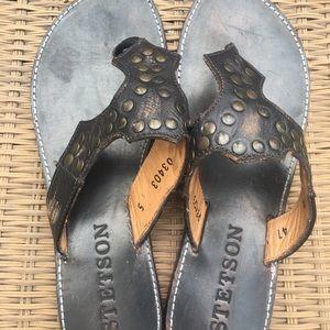 Stetson Studded Leather Flip Flops
